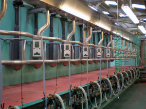 The doubled up herringbone milking parlour installed by DairyFlow at Dewshill Farm
