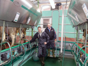 Gilmour and Kevin Lawrie of Sandyford Farm in their GEA rapid exit milking parlour